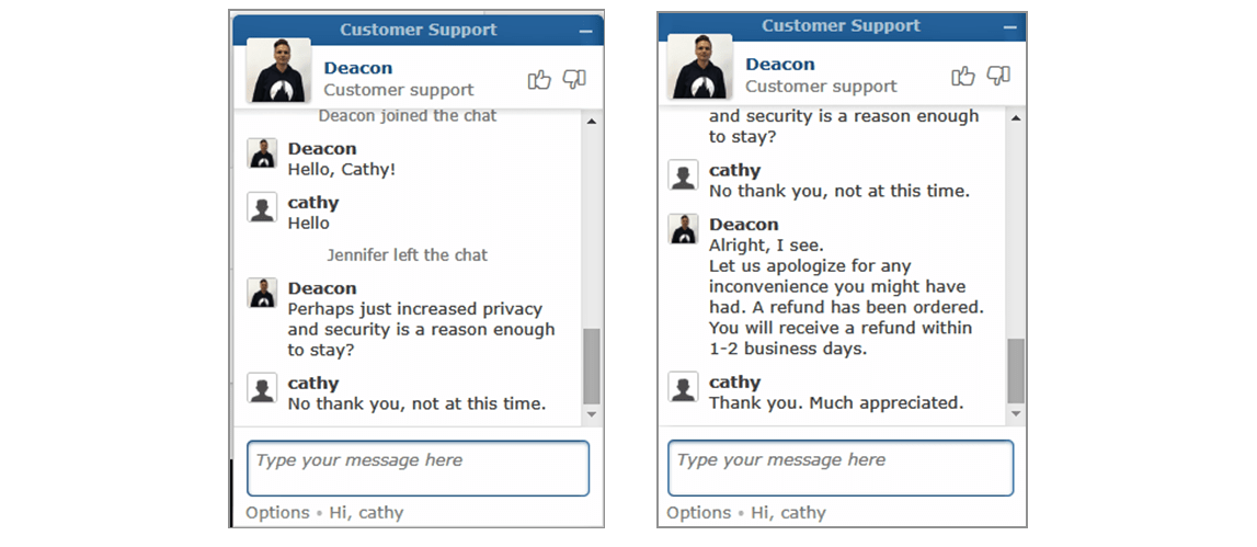 Payment department live chat